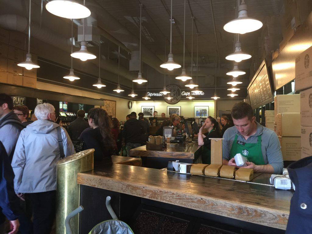 queues in Starbucks